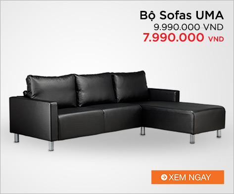 Bộ Sofas UMA OSWALD 1000214 (Đen)