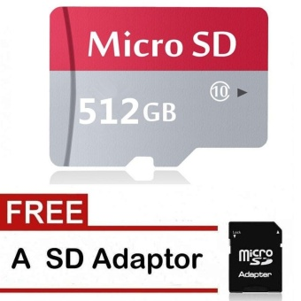 128GB,256GB,512GB Class 10 Micro SD card with Adaptor (Red Grey) -intl