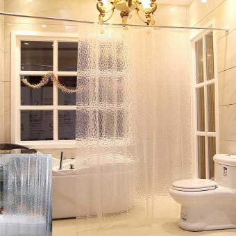 3D Home Bathroom Water Cube PEVA Shower Curtain Chic Clear ThickerEasy to Clean Waterproof With Hook - intl
