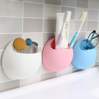 Toothbrush Holder Suction Cup Organizer Bathroom Kitchen StorageTool White (Intl)
