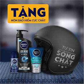 Bộ dầu gội bùn khoáng NIVEA MEN mát lạnh sạch sâu 530 ml + Lăn ngăn mùi NIVEA Men Cool Kick 50ml + Sữa rửa mặt NIVEA MEN 10X Acne Clear Cooling Mud Face Wash 100g + Tặng nón bảo hiểm