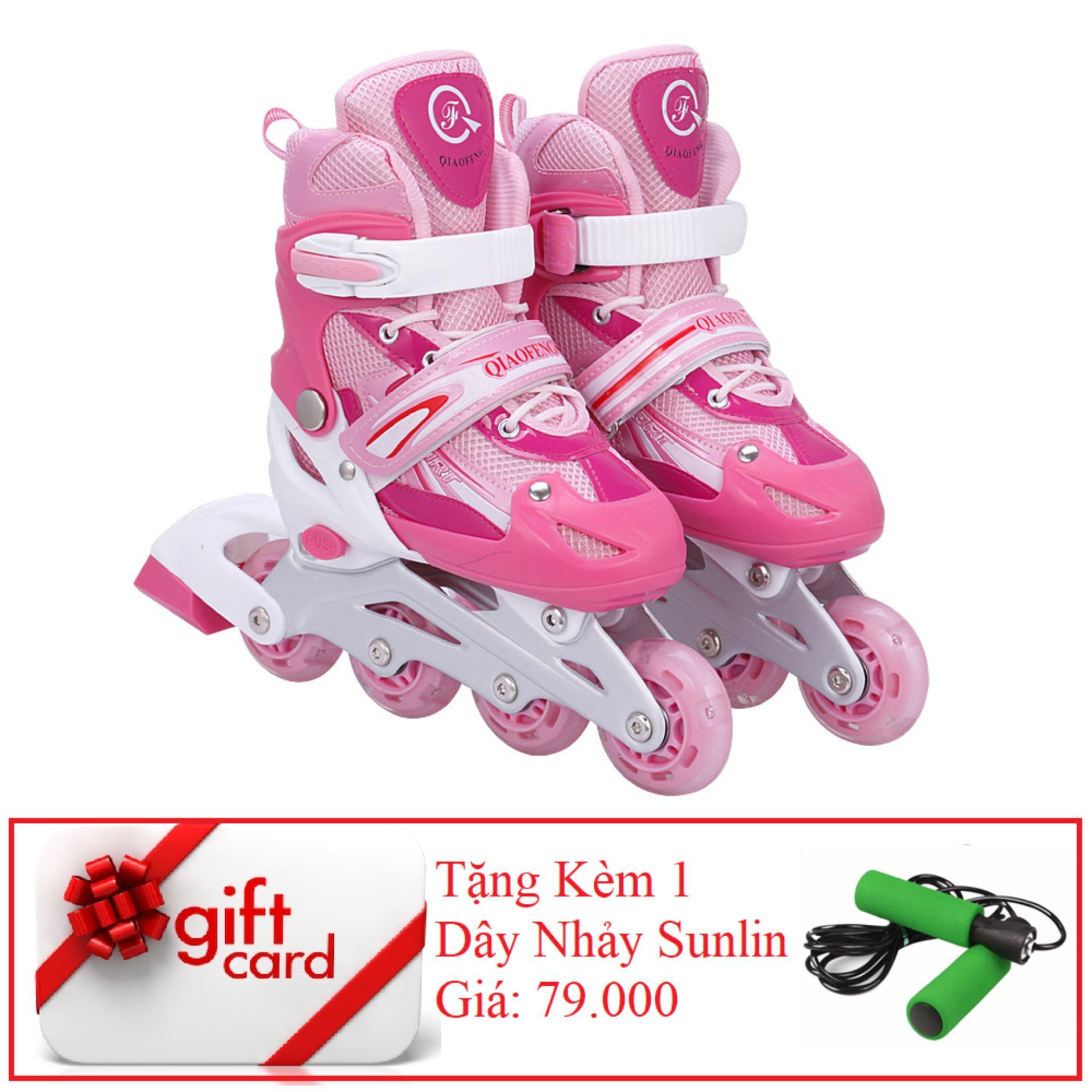 Giày Trượt Patin Gắn Đinh Phát Sáng Cao Cấp (Size L -  Hồng Trắng) - TiGi Mall - Tặng Kèm 1 Dây Nhảy