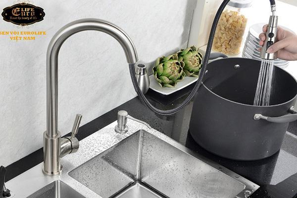 Vòi rửa chén nóng lạnh tay kéo Inox SUS 304 Eurolife EL-T011-8.jpg