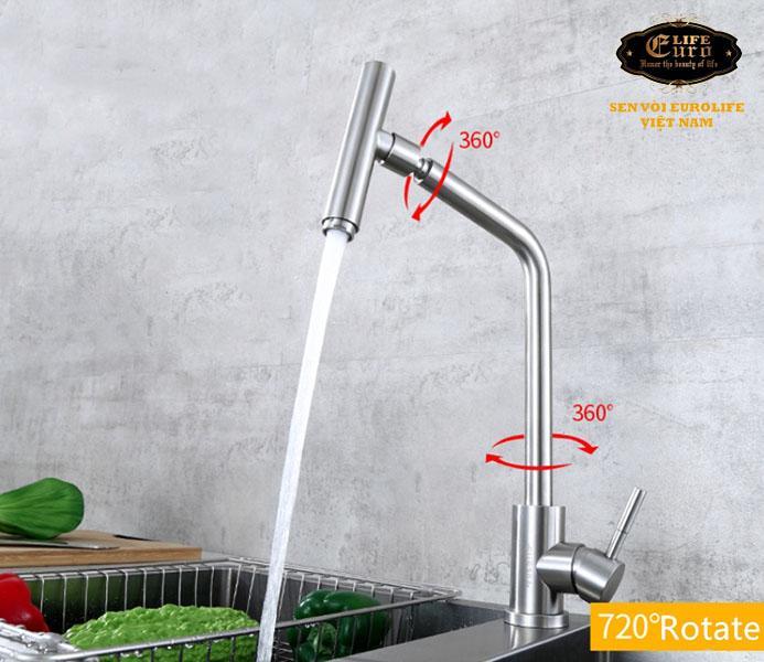 Vòi rửa chén nóng lạnh Inox SUS 304 Eurolife EL-T031-4 .jpg