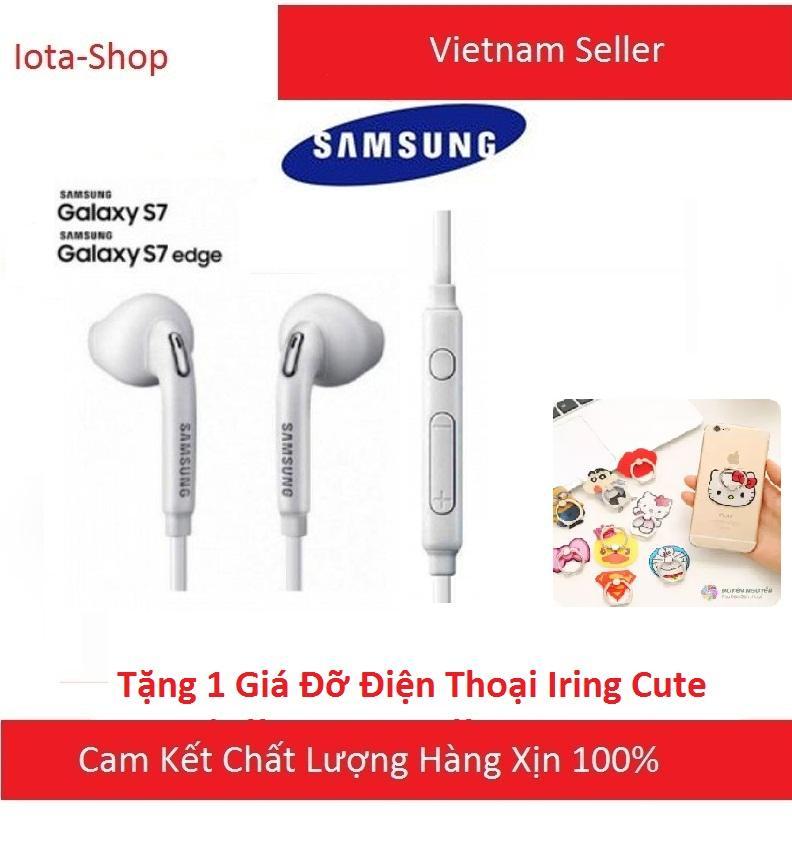 Tai nghe nhét tai Samsung Galaxy S7 2017 (Trắng) - Tặng giá đỡ Iring cute