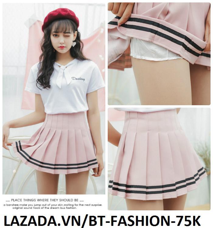 Váy Ngắn Xếp Ly Lưng Cao Hàn Quốc-BT Fashion VA025(Phối Viền-Hồng) - Ảnh 1