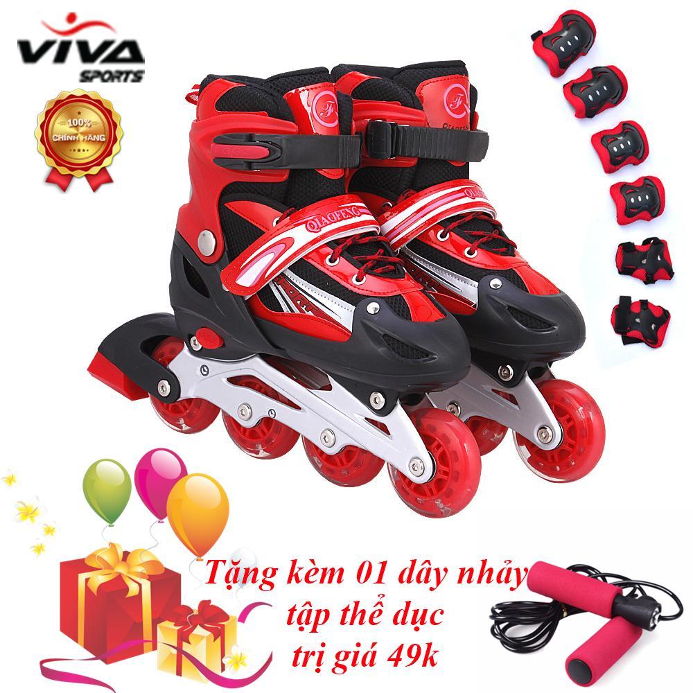 Bộ Giày Trượt Patin Phát Sáng Bánh Cao Cấp ( SIZE L) & Đồ Bảo Hộ - VIVA SPORT ( TẶNG KÈM 1 DÂY NHẢY )