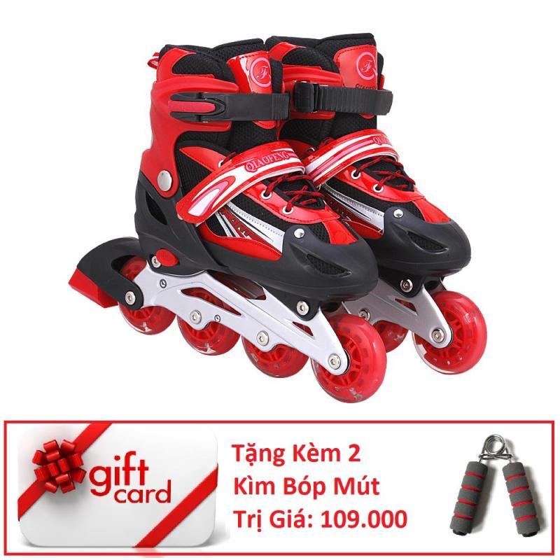 Phân phối Giày Trượt Patin Phát Sáng Bánh Cao Cấp (Size M) - TiGi Mall - Tặng Kèm 2 Bóp Tay Mút