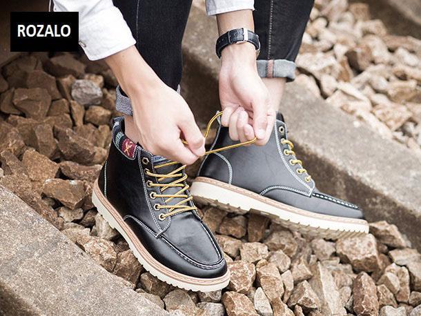 Giày nam cổ cao dã ngoại chống thấm đế bằng Rozalo RM58819B-Đen8.jpg