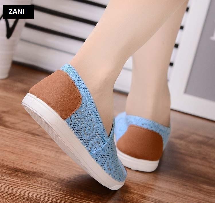 Giày lười vải lưới khử mùi ZANI ZN4119X-Xanh