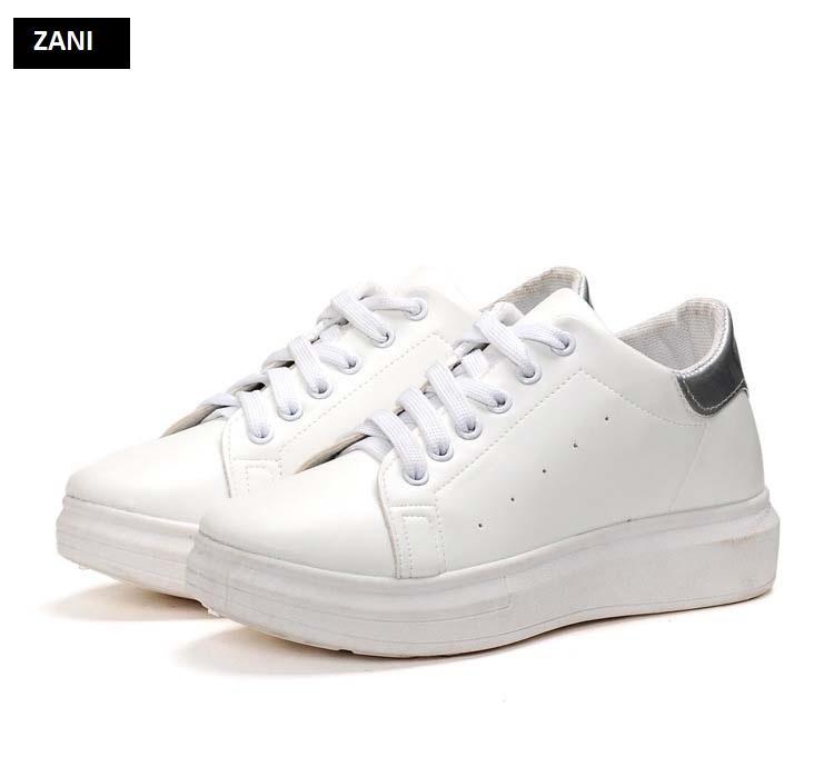 Giày sneaker thể thao nữ dây buộc ZANI ZN3515WB-Trắng Đen