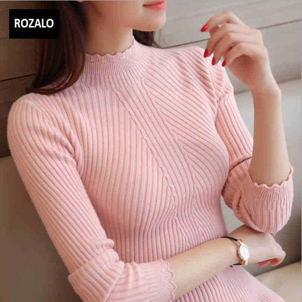 Áo len thu đông nữ dài tay cổ lọ Rozalo RW2181P-Hồng.jpg
