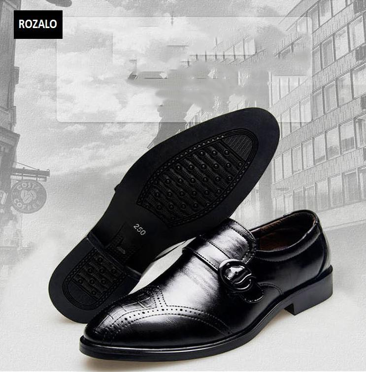 Giày tây nam công sở thoáng khí kiểu xỏ có khóa Rozalo RM51091B-Đen.png
