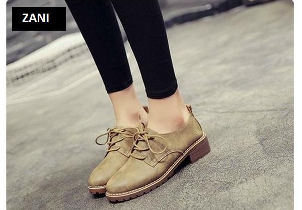 Giày boot nữ cổ thấp ZANI ZN7118K-Khaki