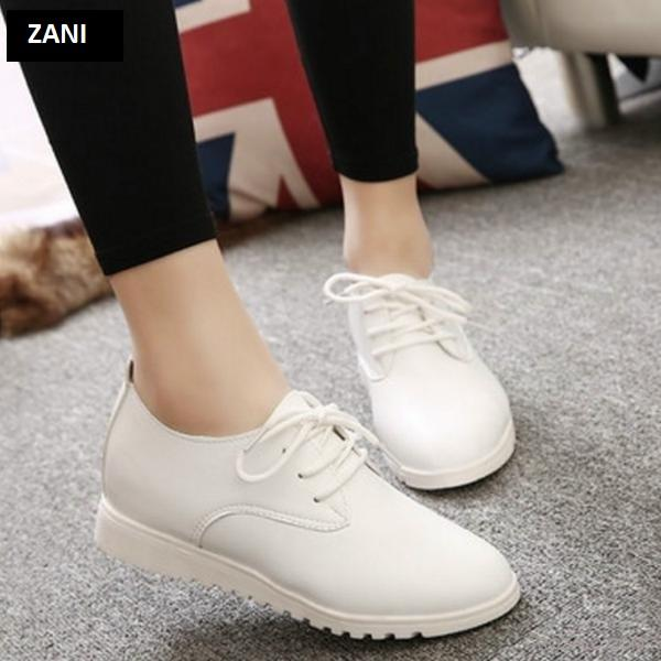 Giày nữ Oxford kiểu dây buộc Zani ZW7088W-Trắng