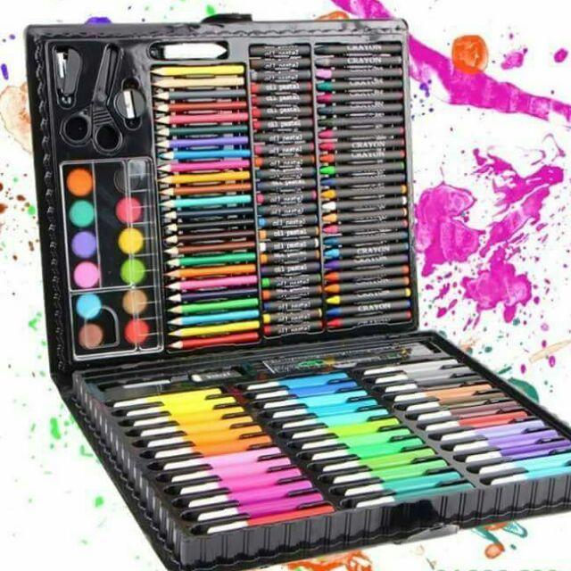 Bộ bút màu vẽ 150 món cho bé 36 Bút màu nước 24 Bút chì màu 24 Bút màu dầu (có ngòi vẽ) 24 Bút sáp màu 12 Phấn màu nước kéo thước và các công cụ khác