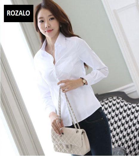 Áo sơ mi nữ dài tay thời trang công sở Rozalo RW3119W-Trắng5.jpg