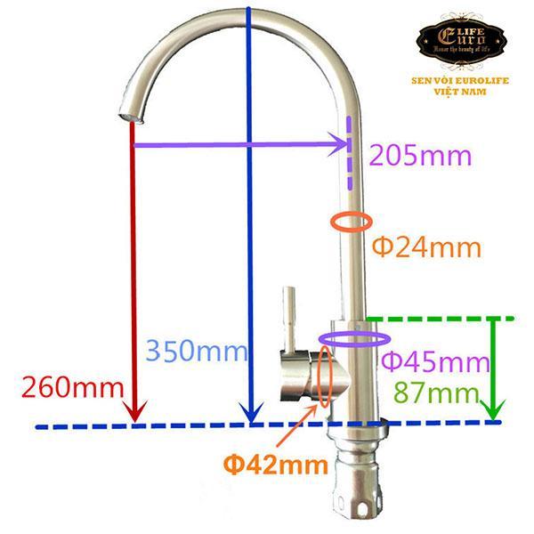 Vòi rửa chén nóng lạnh Inox SUS 304 Eurolife EL-T003-65.jpg