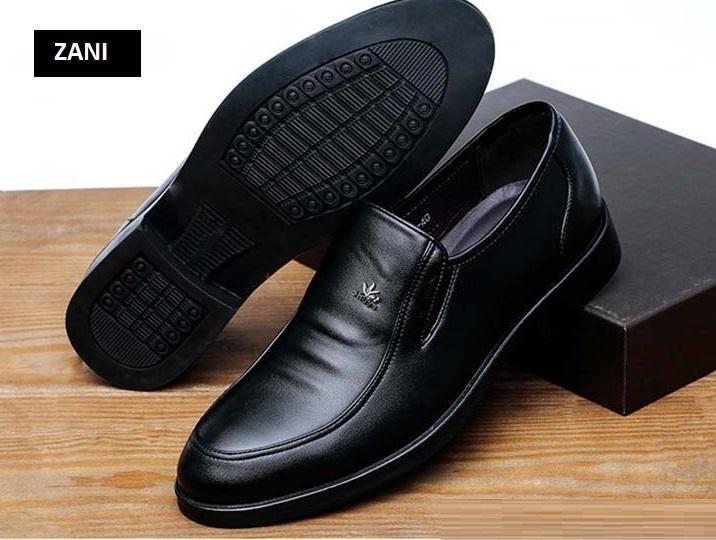 Giày tây công sở da nam  kiểu xỏ Zani ZM52203B-Đen