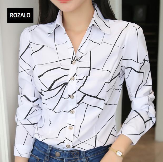 Áo sơ mi nữ  công sở dài tay Rozalo RW22941WB-Trắng Đen