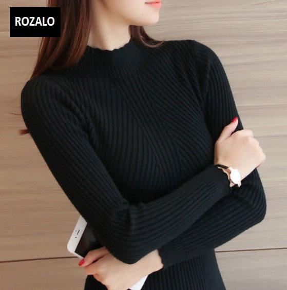Áo len thu đông nữ dài tay cổ lọ Rozalo RW2181B-Đen.jpg