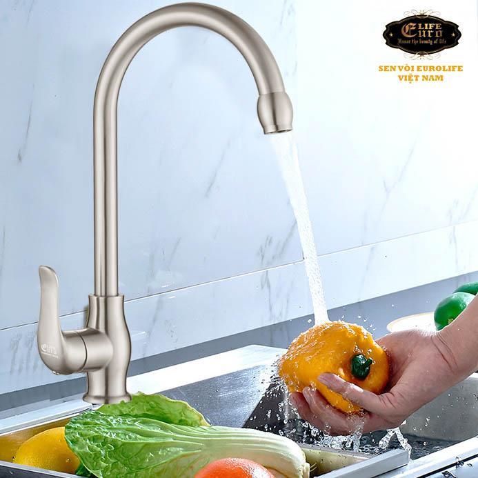 Vòi rửa chén nóng lạnh Inox SUS 304 Eurolife EL-T030 (Trắng vàng).jpg