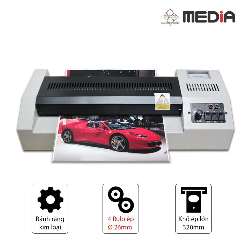 Máy Ép Màn Nhựa Plastic Media MD320 Khổ A3 - Rulo Ép Lớn 26mm 600W