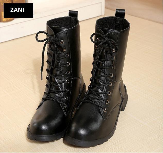 Giày bốt nữ cổ cao đế thấp ZANI ZN67517B-Đen