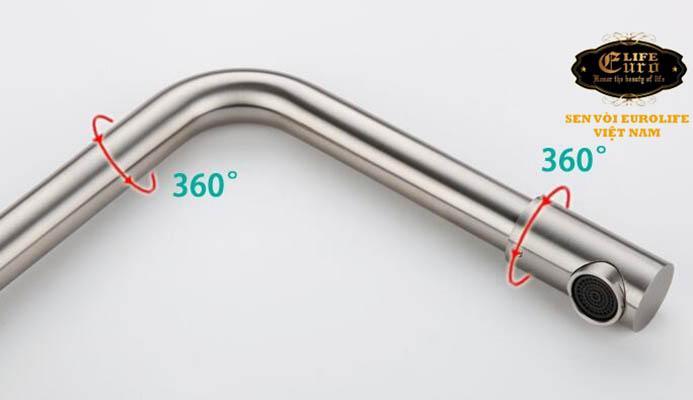 Vòi rửa chén nóng lạnh Inox SUS 304 Eurolife EL-T008 (Trắng vàng)-6.jpg