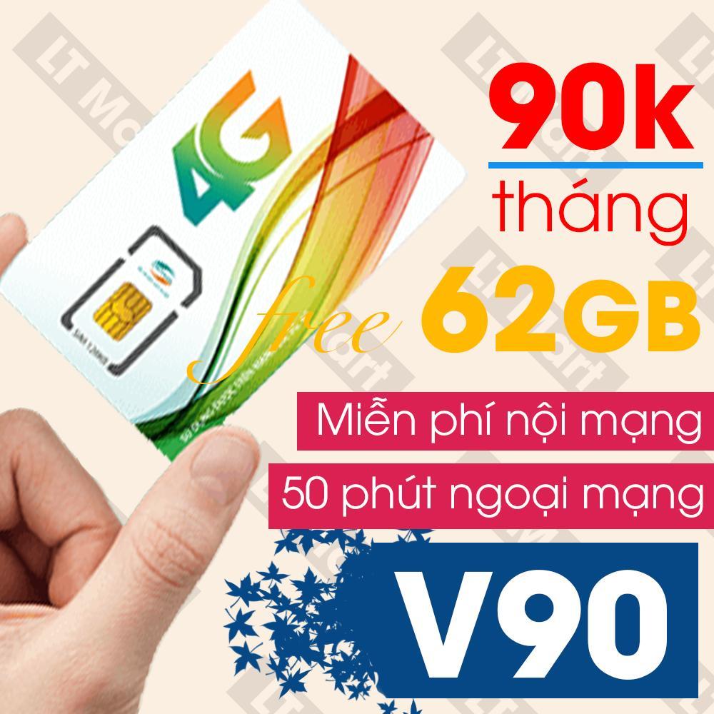 [Miễn phí tháng đầu] Sim 4G Viettel V90 (60Gb dữ liệu + 4350 phút gọi miễn phí / tháng) Ltmart bảo hành 12 tháng