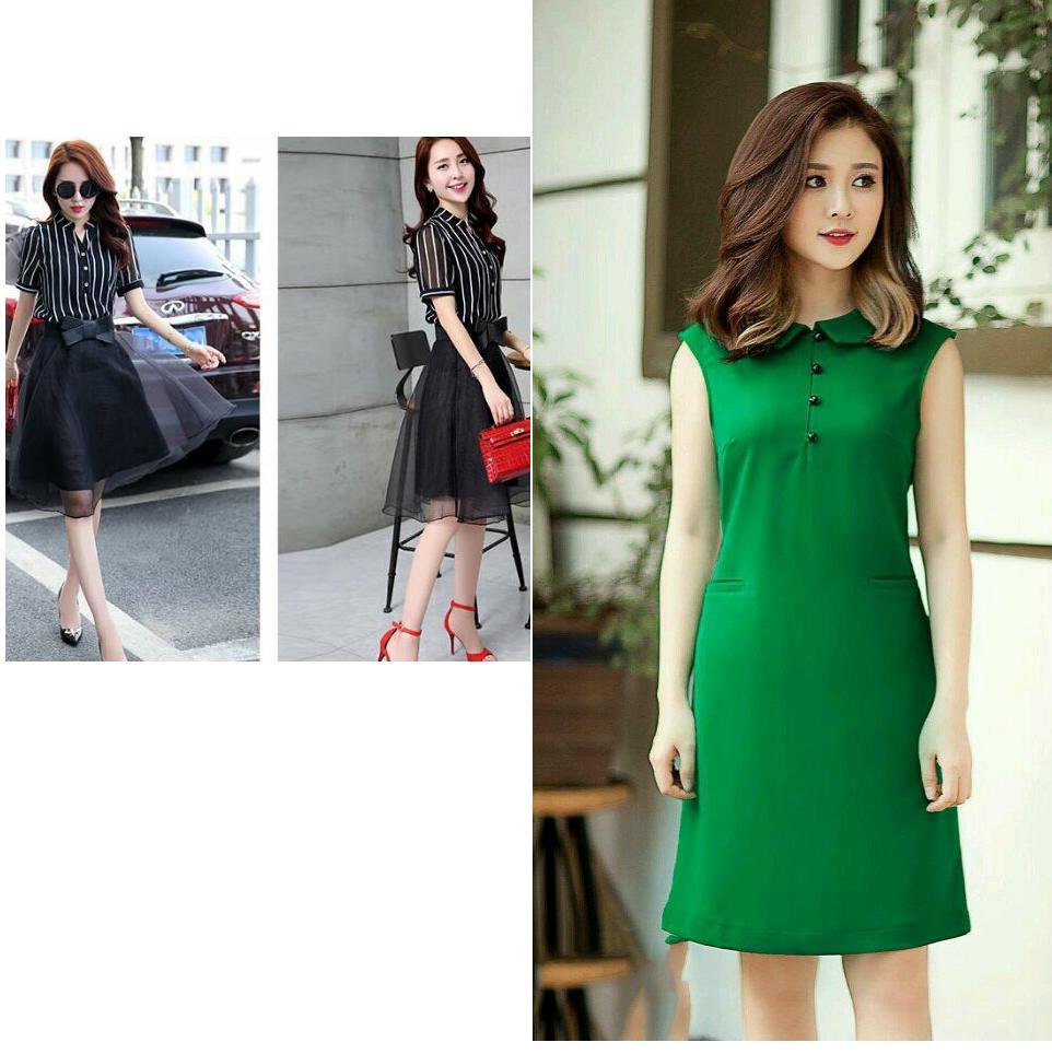 COMBO Set áo sọc váy xòe SET023+Đầm suông cổ sen D123