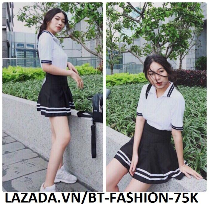 Váy Ngắn Xếp Ly Lưng Cao Hàn Quốc-BT Fashion VA025(Phối Viền-Hồng) - Ảnh 7