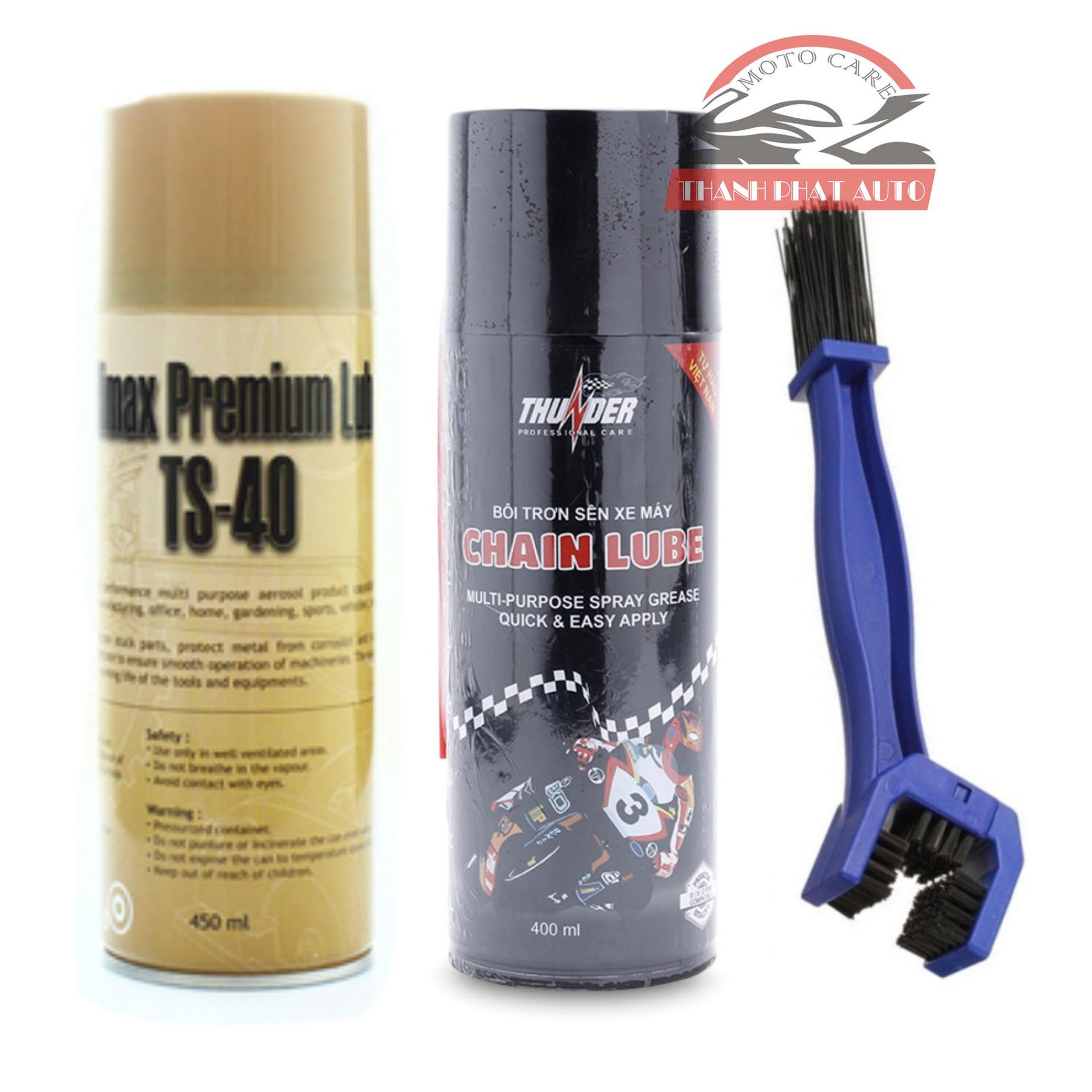 Chai xịt vệ sinh sên xe máy / mô tô TS-40 450ml chai xịt bôi trơn dưỡng sên Thunder Chain Lube 400ml và bàn chải vệ sinh sên chuyên nghiệp 3D