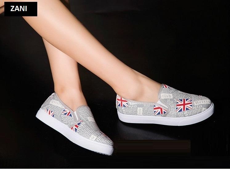 Giày lười slip on nữ ZANI ZW53910WB-Trắng Đen