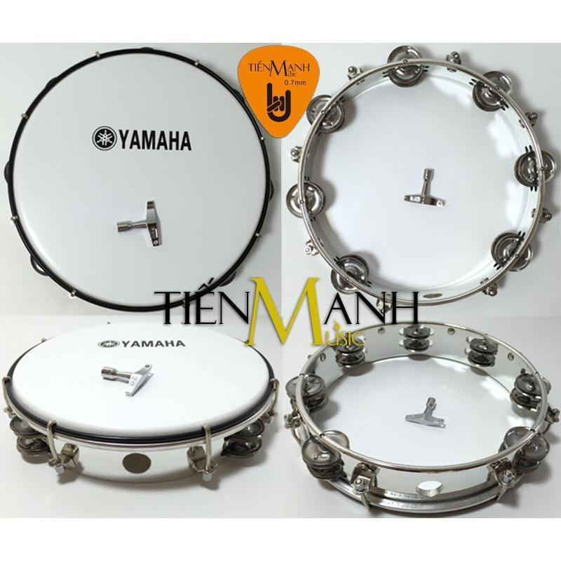 Trống lắc tay - Lục lạc gõ bo Tambourine Yamaha MT6-102A (Trắng - Trống chơi nhạc chế gõ po - Xipo - Tặng móng gẩy Tiến Mạnh Music)