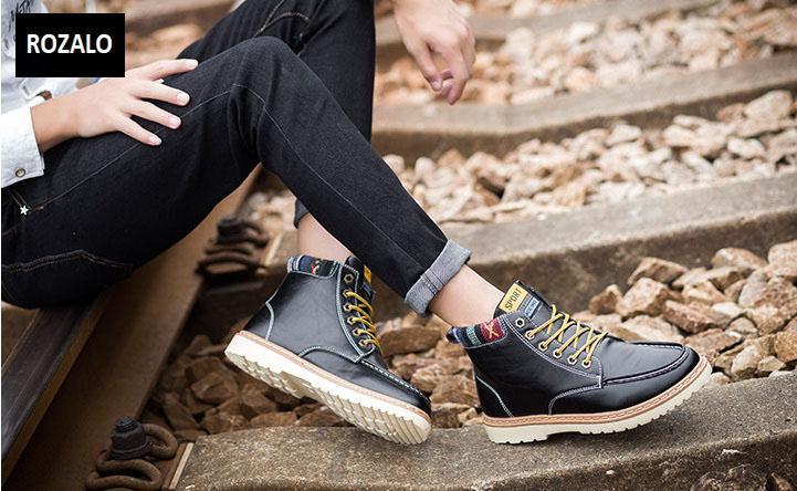 Giày nam cổ cao dã ngoại chống thấm đế bằng Rozalo RM58819B-Đen5.jpg