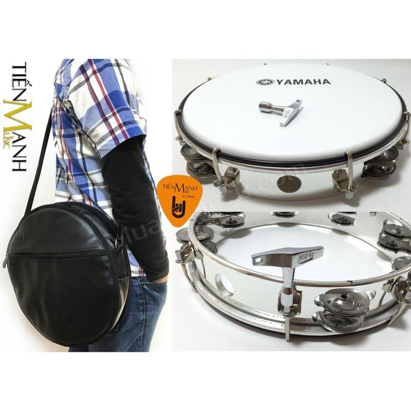 Combo Trống lắc tay và Bao đựng Lục Lạc Gõ Bo Tambourine Yamaha MT6-102A (Trắng - Trống chơi nhạc chế gõ po - Xipo - Tặng móng gẩy Tiến Mạnh Music)