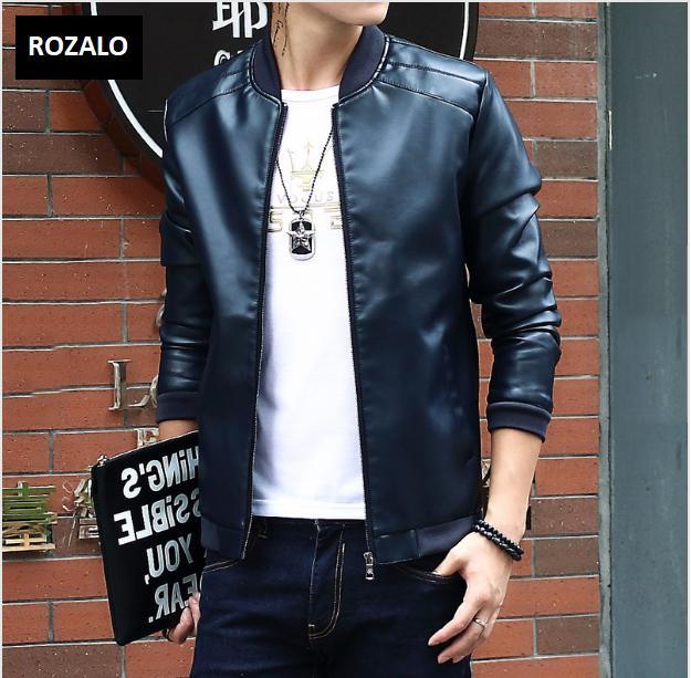 Áo da nam thời trang cổ tròn Rozalo RM8916B-Đen12.png