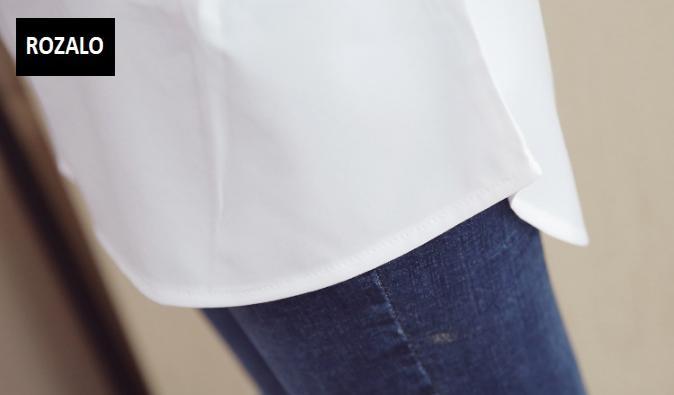 Áo sơ mĩ nữ  dáng suông dài tay Rozalo RW31547W-Trắng11.png