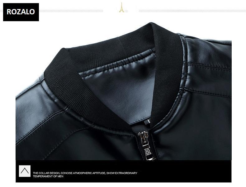 Áo da nam thời trang cổ tròn Rozalo RM8916B-Đen5.jpg