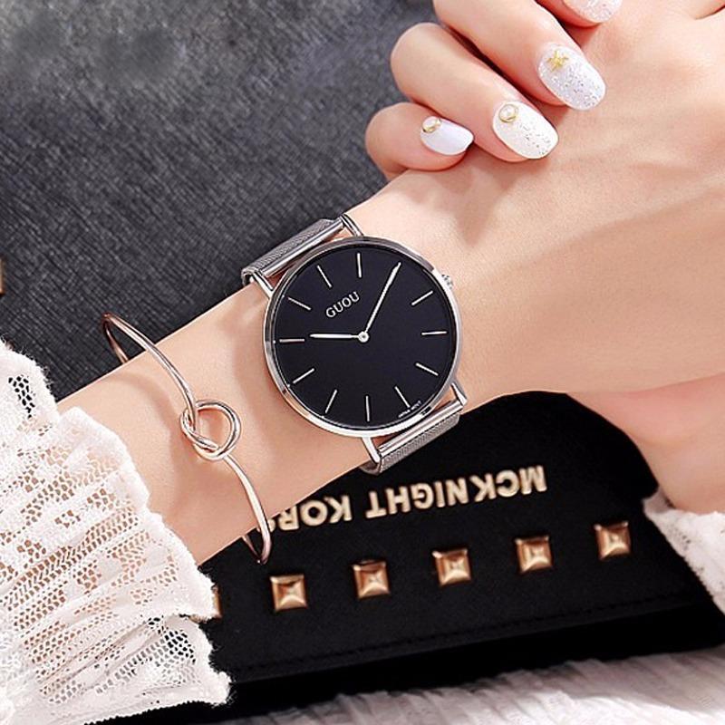 Đồng hồ nữ GUOU chạy 2 kim dây thép lụa bạc cao cấp JS-G6003 (full box)