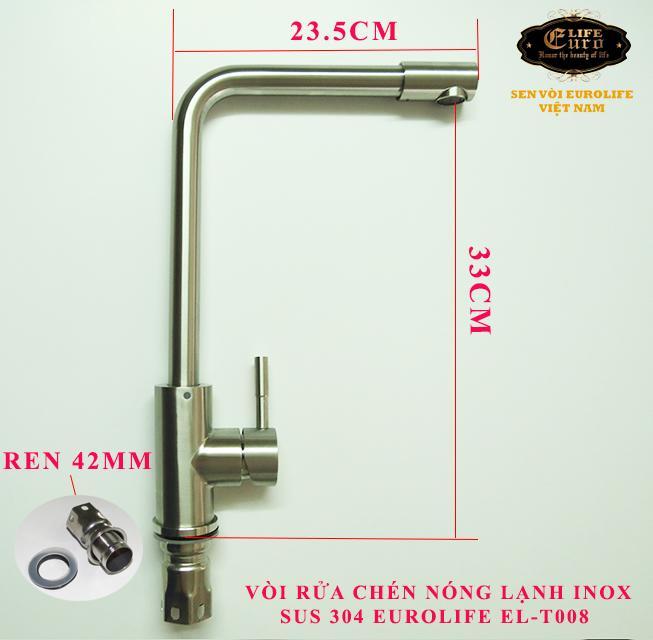 Vòi rửa chén nóng lạnh Inox SUS 304 Eurolife EL-T008 (Trắng vàng)-21.jpg