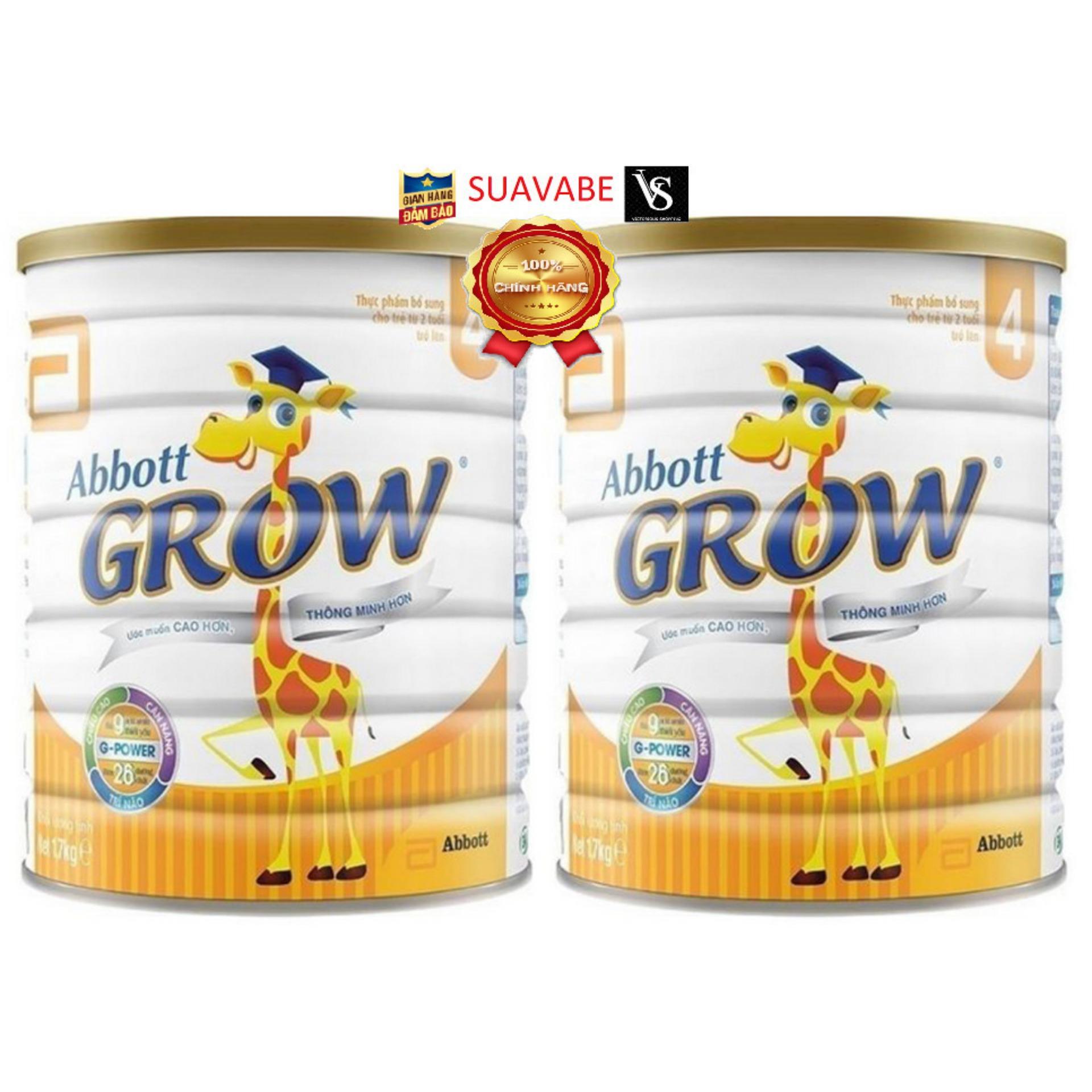 Bộ 2 lon Sữa bột Abbott Grow 4 1700g dành cho trẻ 3 - 6 tuổi hương vị thơm ngon chứa nhiều dưỡng chất và vi chất cần thiết