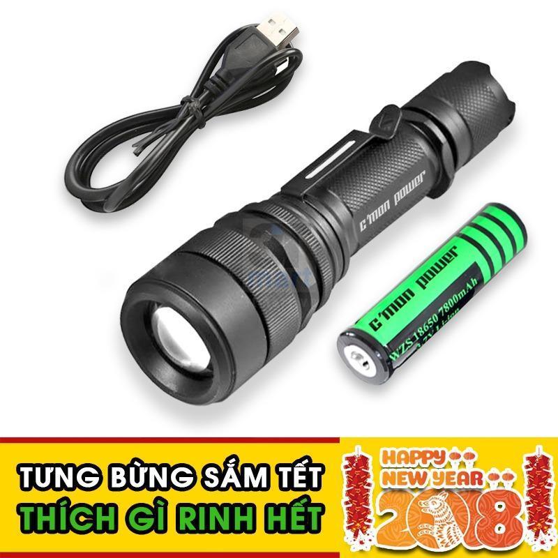 Bảng giá Bộ 1 đèn pin siêu sáng Cmon Power RANGER XML-L2 LED 10W 2000lm chiếu xa 500m + 1 pin sạc 18650 + 1 cáp sạc USB (đen)