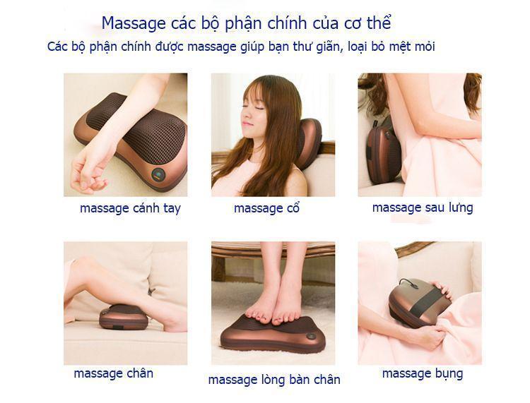 Gối Massage hồng ngoại đa năng 8 bi phiên bản mới nhất CHM-8028