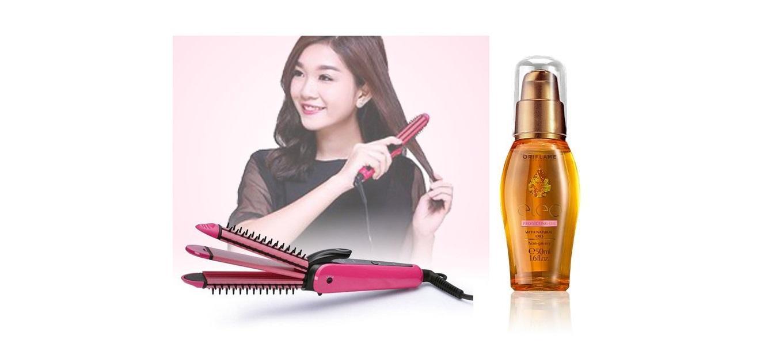 COMBO tạo kiểu tóc thời trang đa năng 3 trong 1 bằng điện và tinh chất dưỡng tóc Eleo Protecting Oil, gồm 2 sản phẩm: