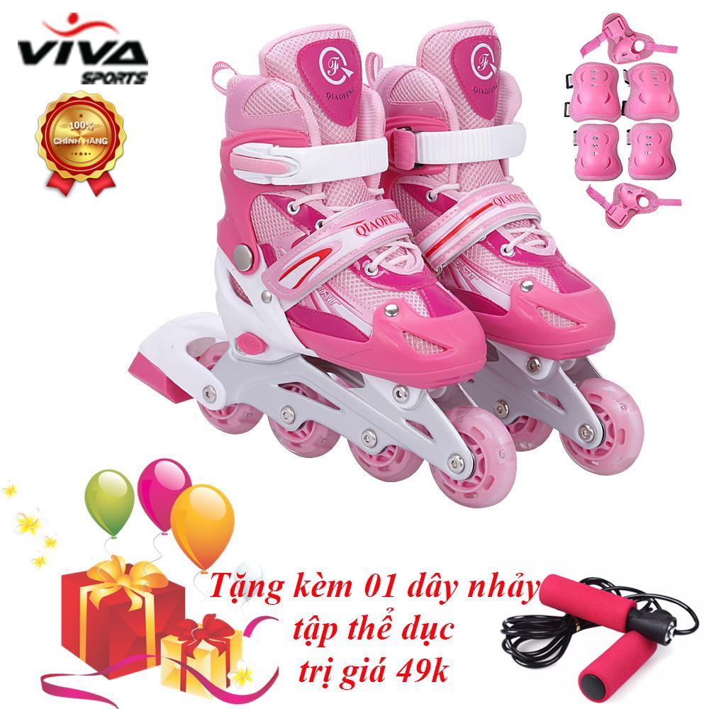 Bộ Giày Trượt Patin Cao Cấp Gắn Đinh Phát Sáng (SIZE L) + ĐỒ BẢO HỘ - VIVA SPORT (TẶNG KÈM 1 DÂY NHẢY)