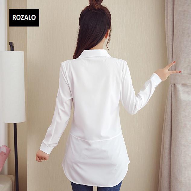 Áo sơ mĩ nữ  dáng suông dài tay Rozalo RW31547W-Trắng4.png