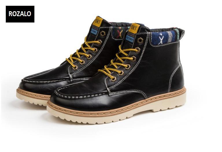 Giày nam cổ cao dã ngoại chống thấm đế bằng Rozalo RM58819B-Đen.png