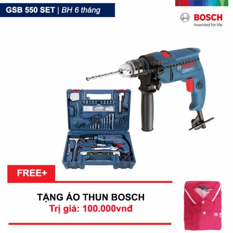 Bộ máy khoan động lực Bosch GSB 550 và bộ dụng cụ 100 chi tiết Bosch + Tặng áo thun Bosch